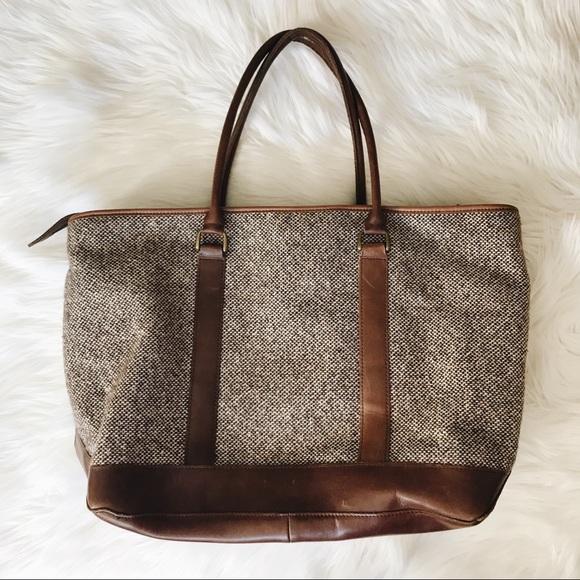 Stupendous Ll Bean Tweed Leather Tote Bag Zipper Inzonedesignstudio Interior Chair Design Inzonedesignstudiocom